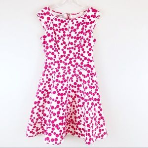 Maggy London Polka Dot Classic Dress White Pink 6